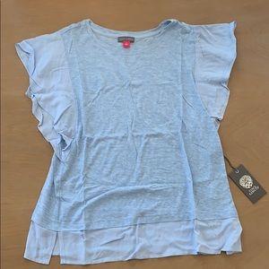 NWT Vince Camuto blue flutter sleeve shirt